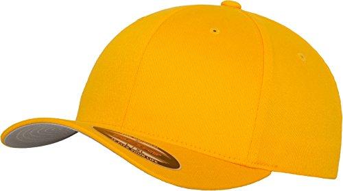 Flexfit Unisex Baseball Cap Wooly Combed, Kappe ohne Verschluss für Herren, Damen und Kinder, Farbe gold, Größe L/XL