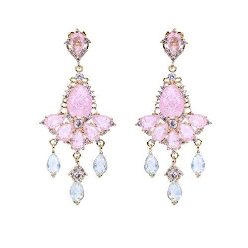 BAJIE Earring Pink Ice Cz Stone Earrings Handmade Beautiful Brass With Electroplating Earrings Female Jewelry Wedding Zircon Jewelry Gifts