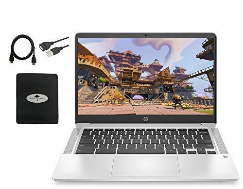 "2020 newest hp chromebook 14"" hd laptop, intel celeron n4000(up to 2. 6ghz), 4gb ram, 32gb emmc, backlit-kb, webcam, fast charge, audio by b&o, wifi, usb-a&c, bluetooth, chrome os, w/gm accessories"
