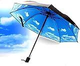 Protección solar y aislamiento de calor anti-UV redondo abierto automáticamente cerrar hombres mujeres soleado lluvia pequeño paraguas portátil impreso plegable