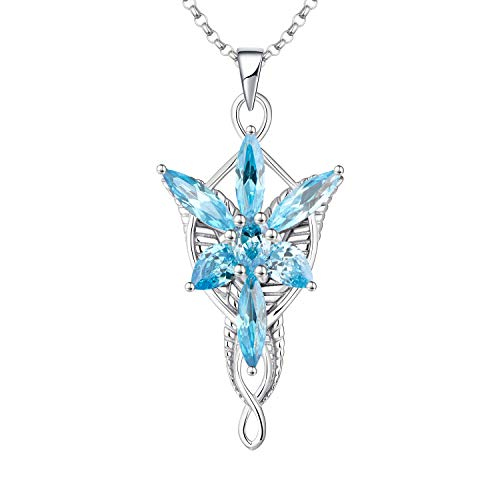 JO WISDOM Arwen Evenstar Necklace,925 Sterling Silver Pendant Necklace with 5A Cubic Zirconia March Birthstone Aquamarine Color,Elvish Jewelry for Women