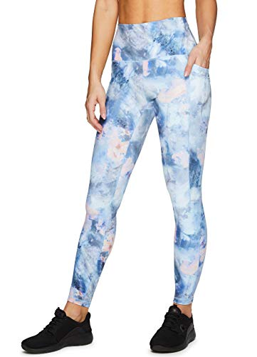 RBX Active Women's Full Length Super Soft Peached Watercolor Tie Dye Squat Proof Running Yoga Legging with Pockets Tie Dye Floral XL