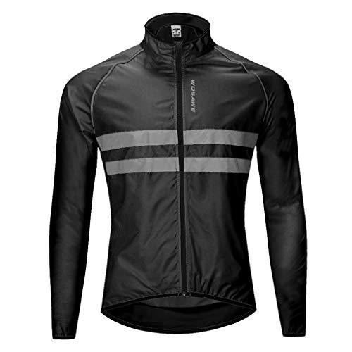 Baoblaze Hommes Cyclisme Veste Coupe-Vent Respirant Cyclisme Vêtements Long Manches Veste Sportswear - Noir, M