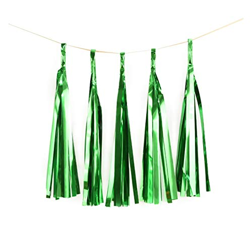1Set Mixed DIY Tissue Paper Tassel Garland for Wedding Kids Unicorn Birthday Party Decorations Baby Shower Favors Supplies (Color : 5pcs Shiny Green)
