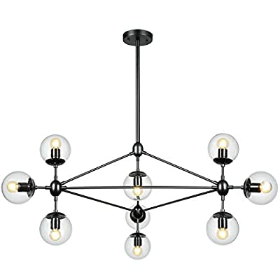 Lampundit DNA Chandelier Lighting 10 Light Chandelier Nordic Modern Magic Bean Chandelier with Globe Glass Shade, Industrial Pendant Light Fixture for Kitchen Dining Room Living Room Foyer - Black