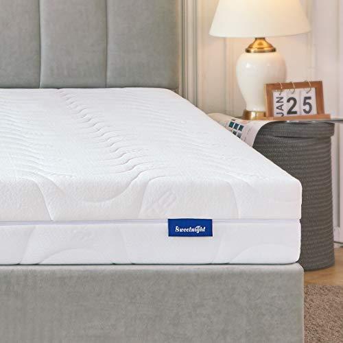 Sweetnight Matratze 90x200 Matratze H4 & H3 Orthopädische punktelastisch Kaltschaummatratze 2 in 1 Liegehärten 4 Seite Reißverschluss Höhe 18cm mit waschbar Microfaserbezug Allergiker geeignet
