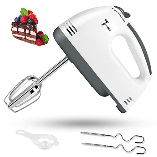 Electric Hand Mixer 7 Speed Handheld Mixer 2021 Upgraded Portable Kitchen Blender Stainless Steel Egg Beaters and Whisk with Egg Separator 2 Dough Hooks and 2 Beaters for Cake Baking amp Cooking