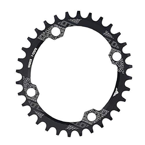 Anillo de la Cadena de la Bici Estrecho Ancho de la Cadena Anillo Oval Forma 34T 104mm BCD for Single Speed ??Bike Negro