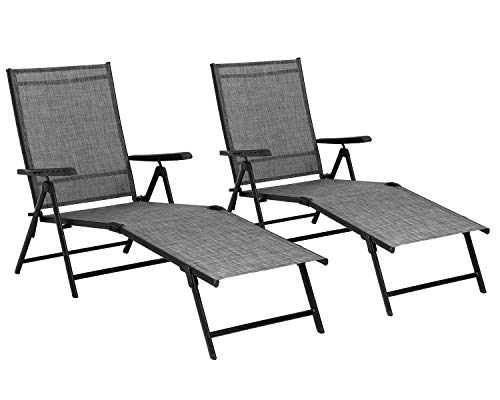 Patio Lounge Chair Patio Chaise Lounges Patio Folding Lounge Chairs for Outside Patio Pool Beach Yard with Adjustable Reclining Lounge Chairs Set of 2 Gery