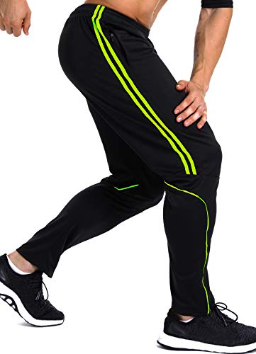 INSTINNCT Herren Lange Trainingshose Sport Jogging Hose Sweatpants mit Reißverschlusstasche Streifen (Grün) XL