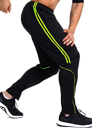 INSTINNCT Herren Lange Trainingshose Sport Jogging Hose Sweatpants mit Reißverschlusstasche Streifen (Grün) M