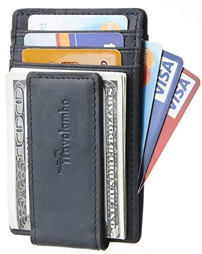 Travelambo Money Clip Front Pocket Wallet Slim Minimalist Wallet RFID Blocking ( Grey Light)