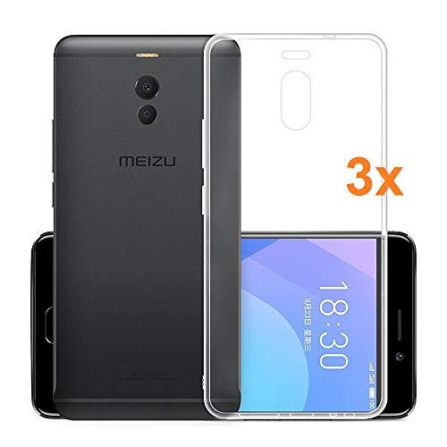 REY Pack 3X Cover in Gel TPU Trasparente per MEIZU M6 Note/MEILAN Note 6, Ultra Sottile 0,33 mm, Morbido Flessibile, Custodia Silicone