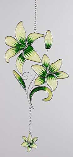 formano Hängedeko Fensterdeko Dekohänger Lilie aus Tiffanyglas in grün, 34 cm