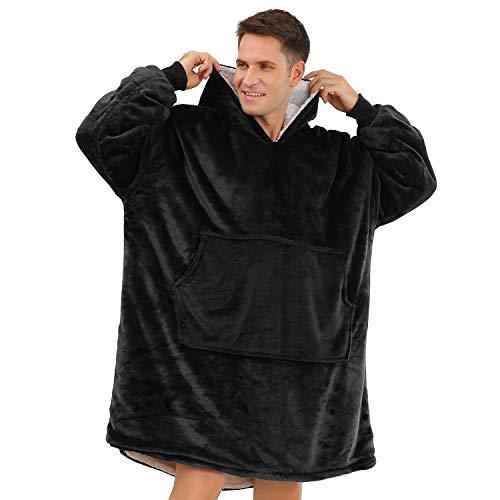 BUZIO Oversized Hoodie Blanket for Teens and Adults, Wearable Fleece & Sherpa Blanket Sweatshirt with Hood, One Size Fits All,...