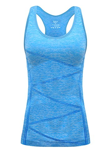 DISBEST Yoga Tank Top, Women's Performance Stretchy Quick Dry Sports Workout Running Top Vest with Removable Pads (Fluorescent Blue, Large)