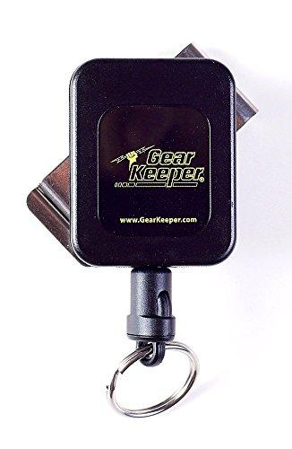 Hammerhead Industries Gear Keeper, Retractor de llaves con clip de cinturón giratorio de acero inoxidable, fabricado en Estados Unidos, Negro, High Force: 9oz
