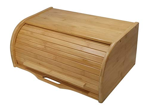 Large bread box bread basket wooden box storage boxes kitchen counter organizer wooden storage box bread storage. roll top breadbox. bread boxes for kitchen countertop. Bamboo wooden boxes. (Natural)