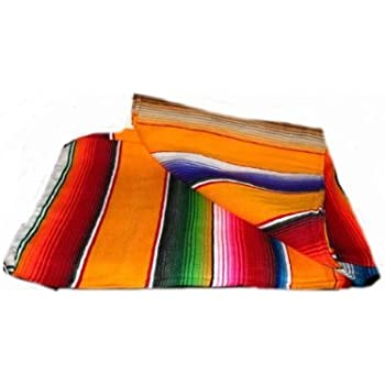 Roger Enterprises Large Authentic Mexican Saltillo Sarapes Throw Rugs Colorful Mexican Blankets Orange/Pumpkin