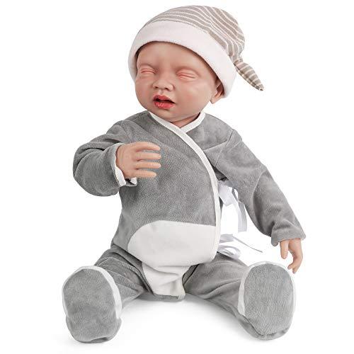 Vollence Bambole di 20 Pollici in Silicone Bambino con Osso, Sistema Bevi e Bagnato, Bambola Realistica Bambino Reborn, Bambola Appena Nata, Bambola Realistica - Ragazzo