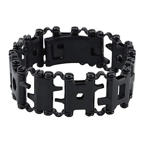 Multi Tool Bracelet,29 in 1 Stainless Steel Tread Chains,Portable Multitool Bracelet for Sailing/Travel/Camping Hiking Outdoor Emergency Kit for Christmas Gift (Sliver/Black)(Black)