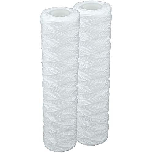 """2 Stk. Faser- Filtereinsatz für 10\""""(254mm) Filtergehäuse. Filterkartusche für Pumpen-, Hauswasserwerke -Vorfilter, Osmosefilter, Wasserfilter, Sandfilter. Faserfilter 20 Micron PFA Filterpatrone. (2)"""