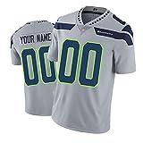 Seahawks Réplique personnalisée de maillot de rugby américain (unisexe, jeune/adulte) – Ajoutez votre équipe, nom et numéro -  Gris - Medium