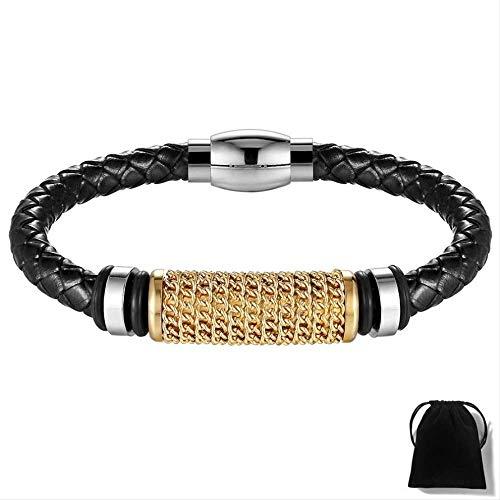 NJSDDB Echtes Leder Armband Gold/Silber/Schwarz Farbe Kettenwicklung Edelstahl Superior Charm Punk Armband Für Männer Geschenk 21 cm Gold-Farbe