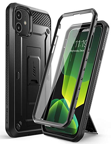 SUPCASE iPhone 11 Hülle 360 Grad Handyhülle Outdoor Case Bumper Schutzhülle Full Cover [Unicorn Beetle Pro] mit Integriertem Displayschutz und Gürtelclip 6.1 Zoll 2019 Ausgabe (Schwarz)