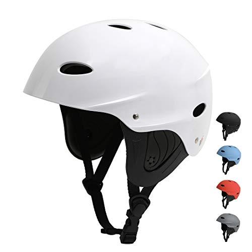 Vihir BMX Helm Wakeboard Helm Skaterhelm Fahrradhelm Herren Damen Jungs & Kinderhelm Wassersport Helm mit Ohrenschützer ABS+Eva, Weiß/M