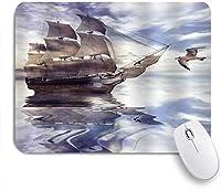 NIESIKKLAマウスパッド 飛んでいるカモメのヨットで海の古代のヨット海事の朝の海事 ゲーミング オフィス最適 高級感 おしゃれ 防水 耐久性が良い 滑り止めゴム底 ゲーミングなど適用 用ノートブックコンピュータマウスマット