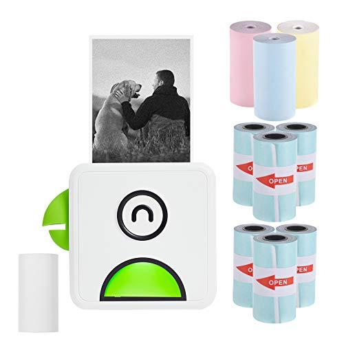 Bisofice mini impresora para movil,Impresora fotográfica térmica de bolsillo Poooli L1 200ppp Recibo inalámbrico BT portátil con 6rollos de papel térmico autoadhesivo+3rollos de papel térmico de color