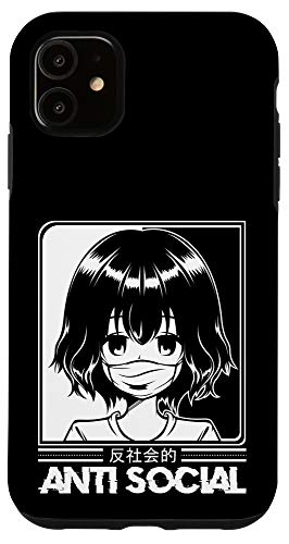 iPhone 11 Anti Social Anime Otaku Kawaii Manga Japanese Art Comic Case