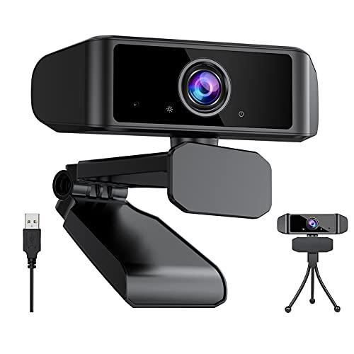 Webcam 1080P mit Mikrofon, Full HD Webkamera Webcam USB PC Camera für Videoanrufe, Konferenzen, Studieren, Aufzeichnen, Kompatibel mit Laptop, Computer, PC, Desktop, Windows, Android und Linux