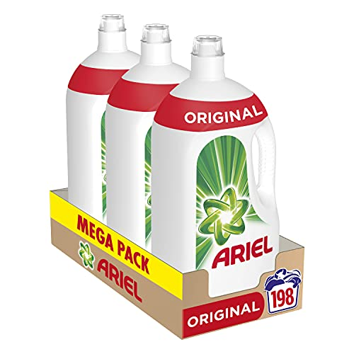 Ariel Detergente Lavadora Líquido, 198 Lavados (Pack 3 x 66), Original