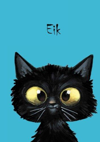 Eik: Personalisiertes Notizbuch, DIN A5, 80 blanko Seiten mit kleiner Katze auf jeder rechten unteren Seite. Durch Vornamen auf dem Cover, eine schöne ... Coverfinish. Über 2500 Namen bereits verf