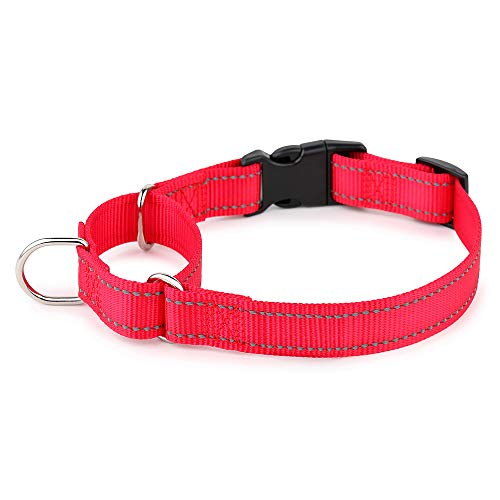 PLUTUS PET Reflective Martingale Collar with Quick Snap Buckle,No Pull Dog Choker Collar for Small Medium Large Dogs,M,Red