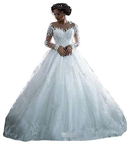 Dreammaking Damen Hochzeitskleid mit Glitzer und Lange Prinzessin Spitze Tüll Appliques Brautkleider Abendkleider Elfenbein weiß