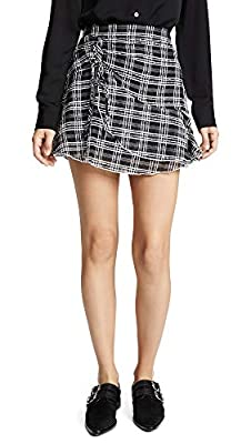 Parker Women's Chris Plaid Asymmetrical Ruched Mini Skirt