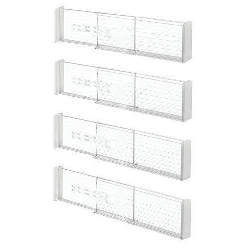mDesign 4er-Set Schubladen-Organizer aus Kunststoff – Trennwand für Schränke und Schubladen – anpassbarer Schubladen-Trenner für Küchenutensilien, Textilien, etc. – durchsichtig