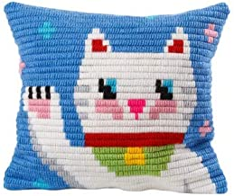 Sozo DIY Unicorn Design Needlepoint Kit for Beginners Cross Stitch Embroidery Kit for Kids Tapestry Pillow An Ideal Gift. Complete Kit. Everything You Need To Create A Needlepoint Pillow (Maneki Neko)