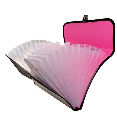 13-Taschen Aktenordner Tragbarer Aktendeckel Dokumenten Mappe Dokumenttasche Ziehharmonika Ordner - Rosenrot - A4