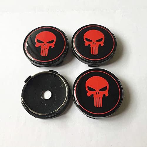 Cubierta del cubo de rueda 4 unids 60 mm para Skull Punisher Coche Centro de ruedas Cerlas de CAPERS EMBLEM BADGE AUTO ESTILO DE PUBLICACIÓN DUSPIABLE COVER Cubierta central (Color : B)
