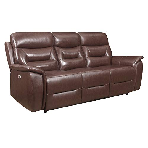 Lexicon Charley Power Double Reclining Sofa, Brown