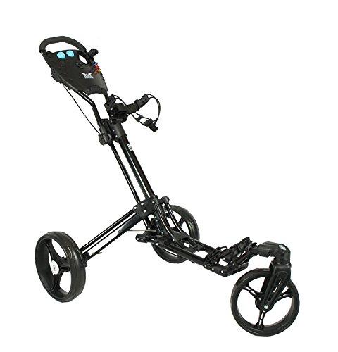 Yorrx Golftrolley SL Pro 7 HAMMA Plus Ausstattung, Golfwagen mit innovativem 360° Spin Vorderrad (schwarz) inkl. Regenschirmhalter & Tees …