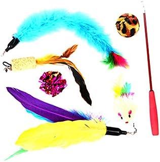 面白いインタラクティブキャットワンド玩具ペットの魚の羽のおもちゃ猫の子猫1ピースフレキシブルティーザーワンド&プルーム交換セット