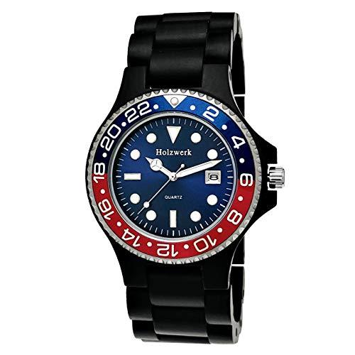 Holzwerk Germany - Reloj de diseño unisex para hombre y mujer, ecológico natural, reloj de pulsera analógico de cuarzo, color marrón, negro, rojo y azul, con fecha