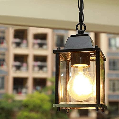 Lampada A Sospensione Regolabile In Altezza Vintage Lampadari Per Esterni/Interni E27 Nero Impermeabile IP23 Pendant Light Paralume In Alluminio In Vetro Corridoio Balcone Gazebo Illuminazione (A)
