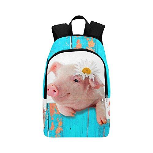 Cute Pig Blue Custom Casual Backpack School Bag Travel Daypack