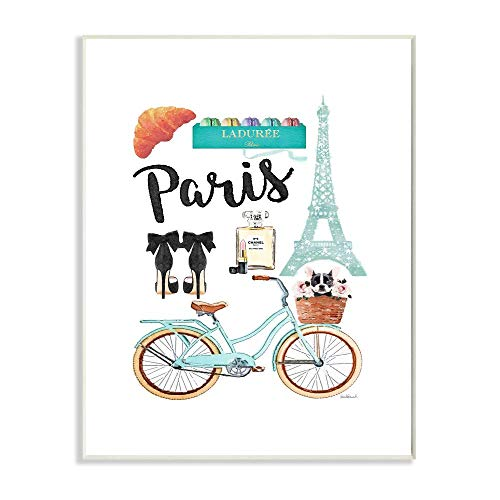 Stupell Industries Paris Objects Bike Heels Glam Fashion Watercolor, Designed by Amanda Greenwood Art, 13 x 0.5 x 19, Wall Plaque
